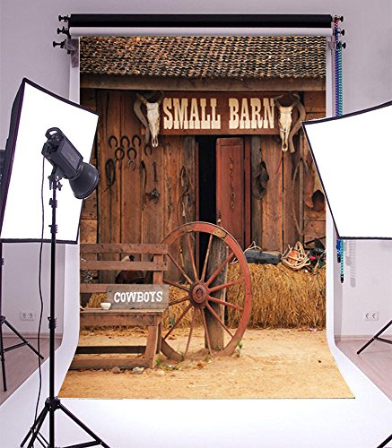 5X7FT Laeacco Vinyl Backdrop Photography Background Shabby Small Barn Tools Wheel Cowboy Backdrop Western Retro Rustic House Cowboy Farm Photo Booth Studio Props 1.5x2.2M -