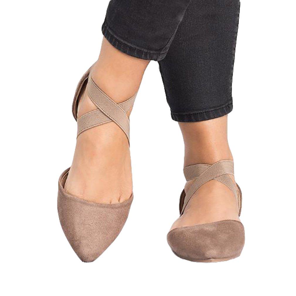 Mujer Gamuza Sandalias Apuntado Zapatos Planos Sandalias Cerradas Ocio Moda Correa Cruzada Suela de Goma Sandalias, Primavera Verano Otoño Sandalias, 3 Colores 35-43