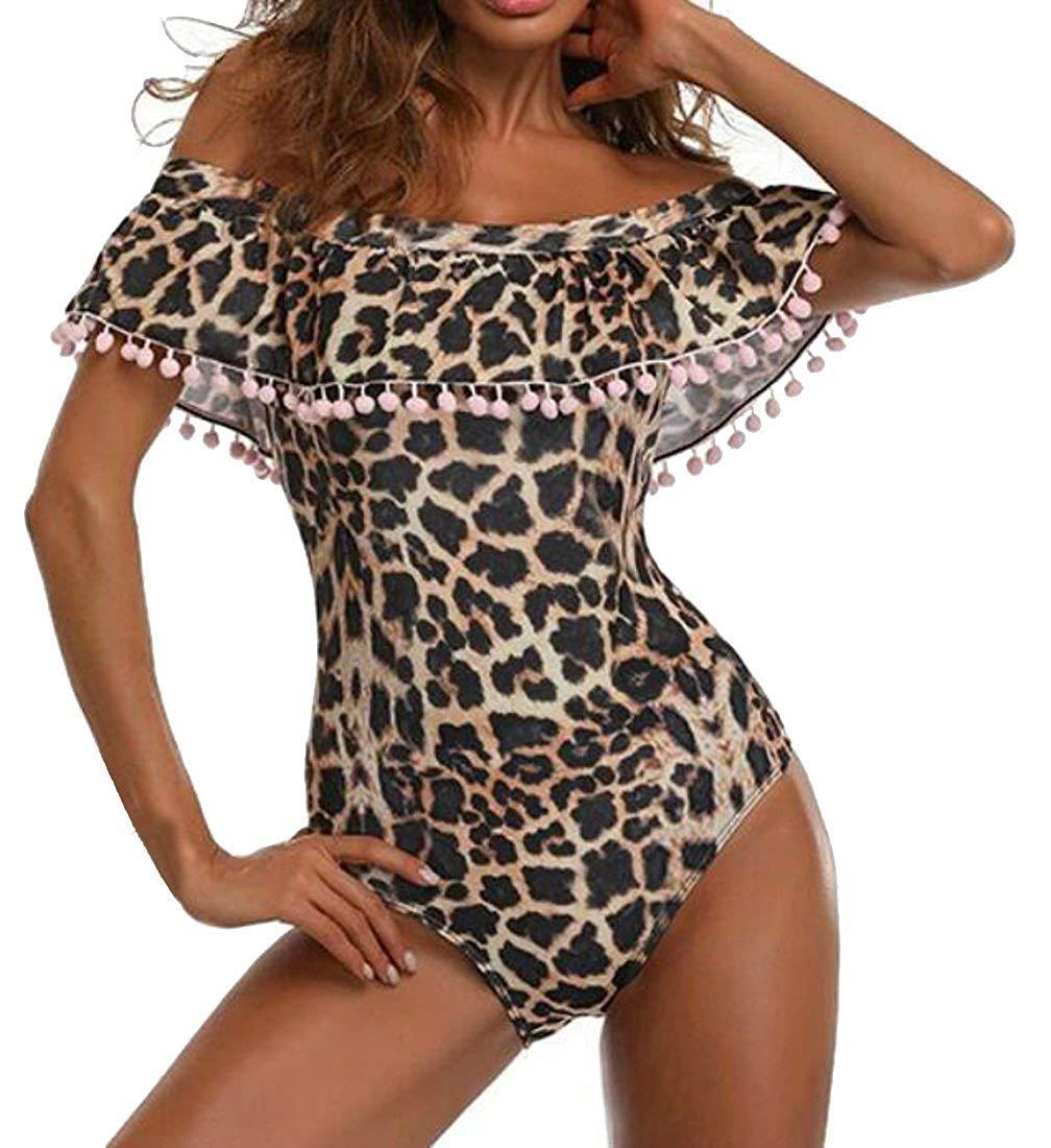 XINSU Frauen Pom Hipster Leopard One Piece Off-Shoulder Off-Shoulder Off-Shoulder Bademode Volant Monokini (Farbe   Leopard, Größe   X-Small) B07Q1L2JHG Badeanzüge Verkauf neuer Produkte 8f8ef1