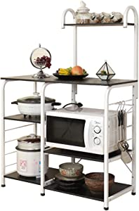 soges Multi-Functional Kitchen Baker's Rack Utility Microwave Oven Stand Storage Cart Workstation Shelf, Black Brown 172-BK
