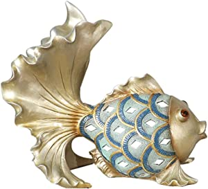 LISHUFANG European and American Modern Living Room Porch TV Cabinet Animal Goldfish Sculpture Desktop Home Resin Statue Ornaments Opening Housewarming Wedding Gift Crafts (Size : L)