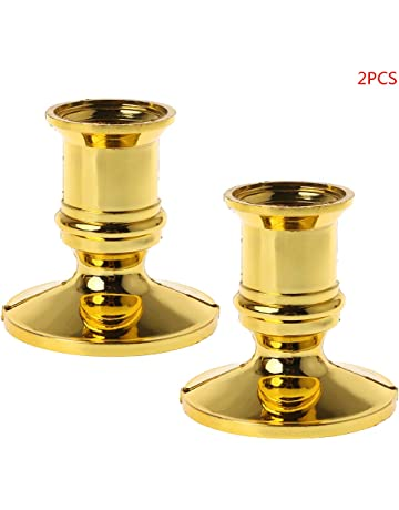 Fogun - Soporte para Velas (2 Unidades, plástico, Chapado en Oro)