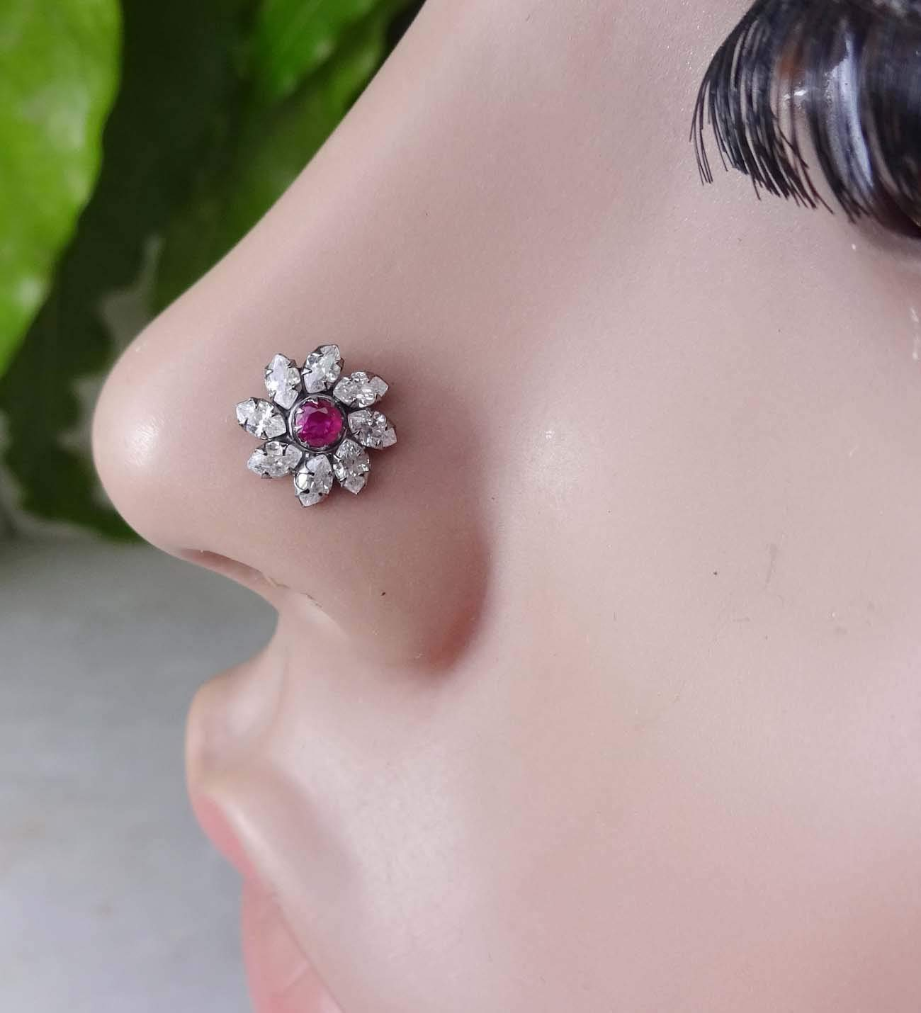 Indian Nose Stud Nose Jewelry Gift For Her White Gold Nose Stud L Shape Nose Stud Tribal Nose Stud Crystal Nose Stud Mother Day Special Gift