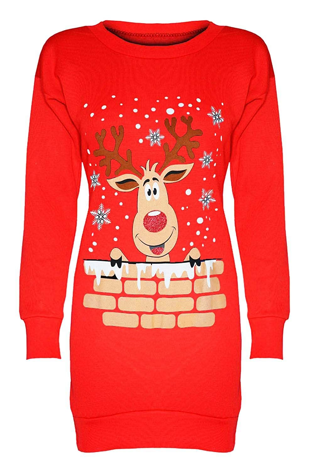 Fashion Star Womens Christmas Sweatshirt Ladies Xmas Two Reindeer Print Fleece Knitted Long Dress Long Sleeve Jumper Oversized Baggy Mini Dress Top