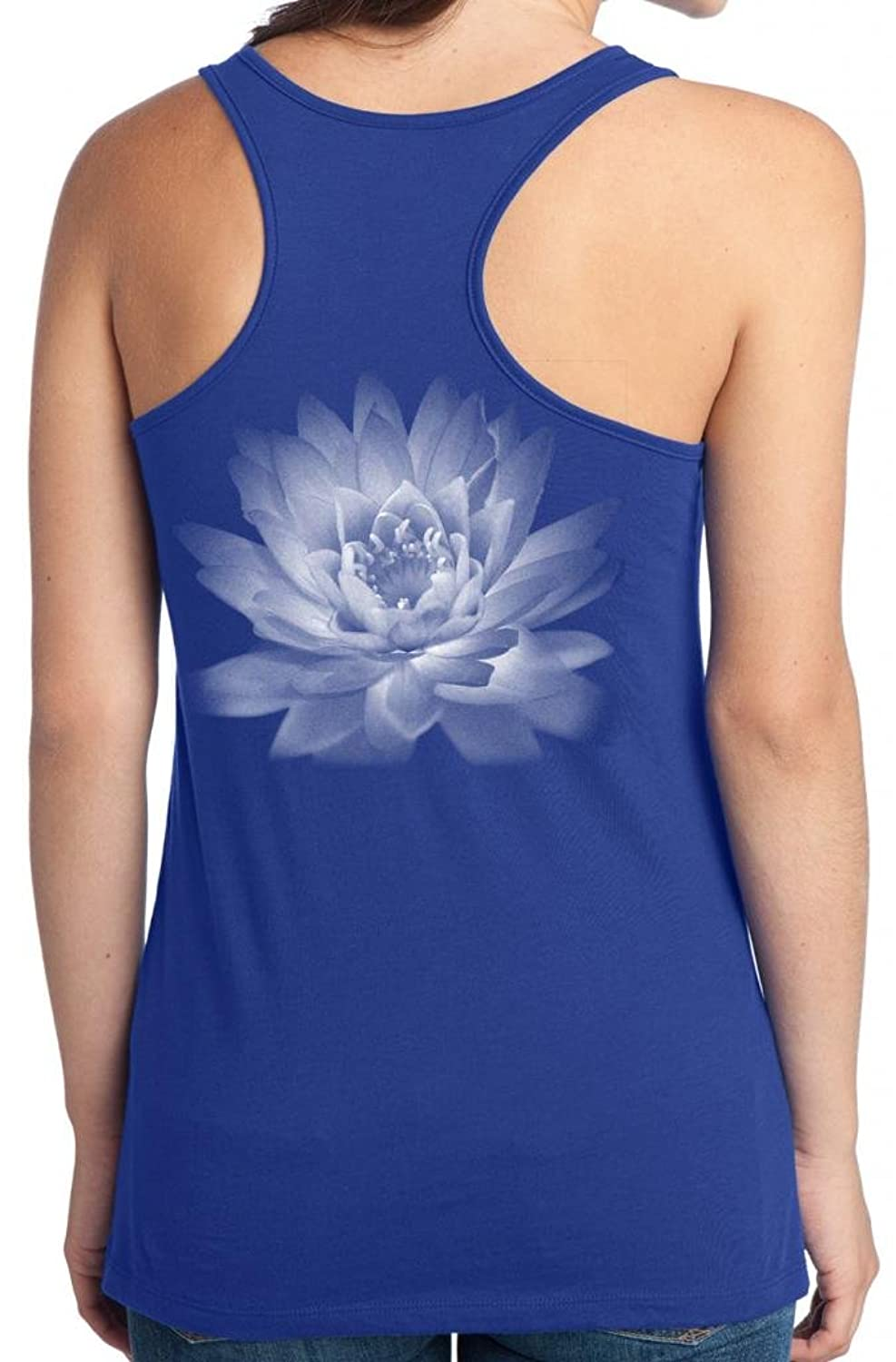 Yoga Clothing For You Juniors Lotus Flower Deep Royal Tank Top