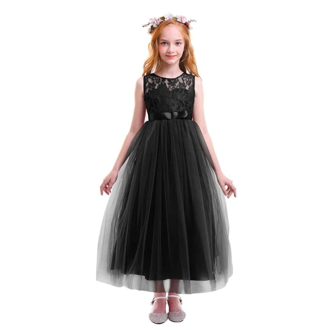 IBTOM CASTLE Flower Girls Lace Tulle Dress Wedding Bridesmaid Communion Evening  Party Long Maxi Formal Pageant dce5908cff65