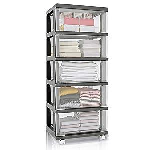 Nafenai 5 Plastic Storage Drawers Cart, Organizer Unit for Bedroom, Closet, Entryway, Hallway, Nursery Room - Black
