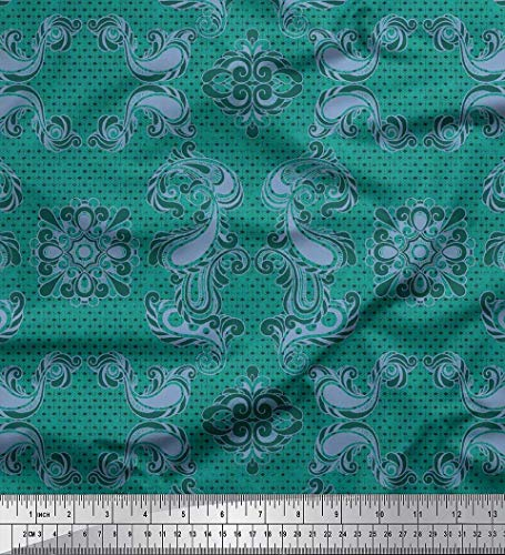 Voile Cotton Green - Soimoi Green Cotton Voile Fabric Geometric & Paisley Damask Printed Fabric 1 Yard 56 Inch Wide