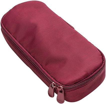 LONMEI Estuche de Lápices Personalizado - Estuche Escolar de Lona Papeleria con Cremallera Bolsa de Maquillaje de Gran Capacidad Bolsa de Cosméticos(21 * 8 * 4 cm), S-rojo: Amazon.es: Oficina y papelería