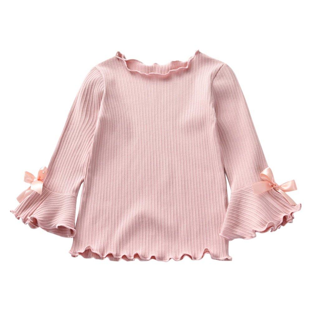 MiyaSudy Kids Girl Basic Knitted Shirt,Toddler Girls Autumn Casual Cotton Long Sleeve Tops Sweater Sweatshirt for 3-8Yrs