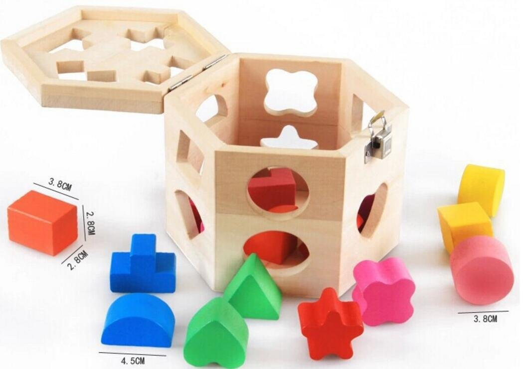 Baby Toddler Kids Gifts Wooden Shape Sorting Cube Geometric Sorting Box Educational Shape Color Recognition Toy for Kids