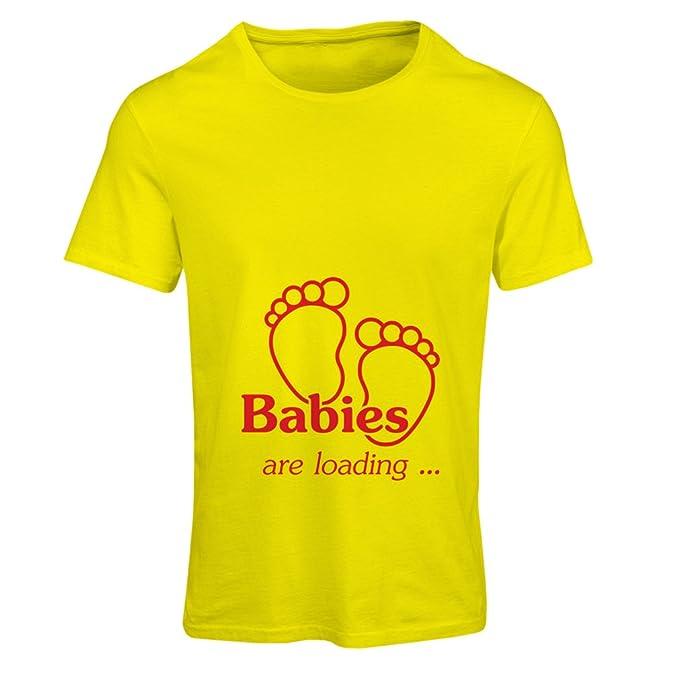 Camiseta mujer Los bebés están cargando - gemelos bebé gracioso anuncio de embarazo (Small Amarillo