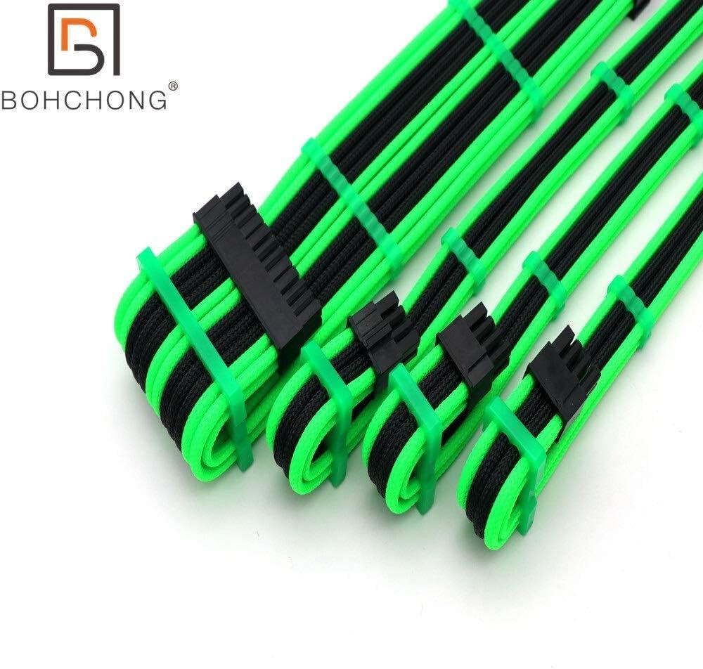Cable Length : 30cm, Color : Full White Logo 180 Degree 4mm PET Basic Power Extension Cable Kit 1pcs ATX 24Pin 1pcs EPS CPU 8Pin Dual PCI-E GPU 8Pin 6+2Pin