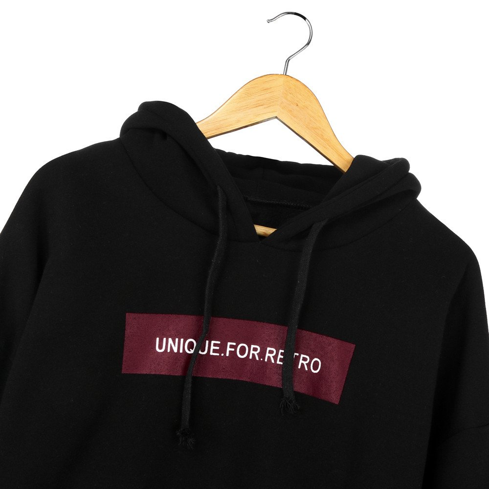 Keepfit Hoodie Letter Print Womens Unique for Retro Printed Long Sleeve Sweatshirt Hooded Pullover Tops