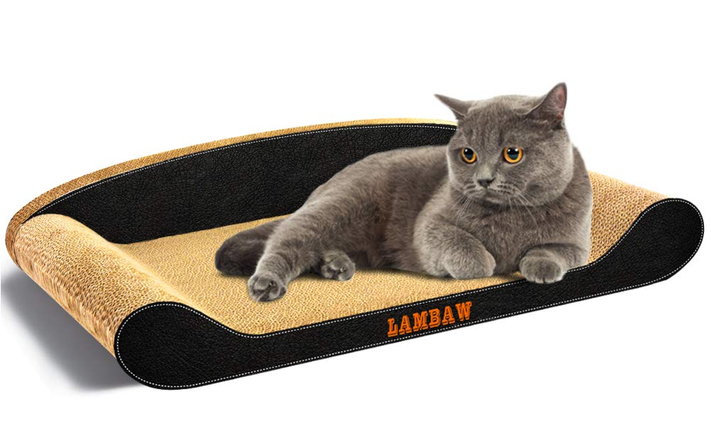 Black LAMBAW Cat Scratcher Cardboard Couch Jumbo Corrugated Cardboard Scratch Pad,Lounge to Predect Furniture Keep Cat Claws Healthy Black