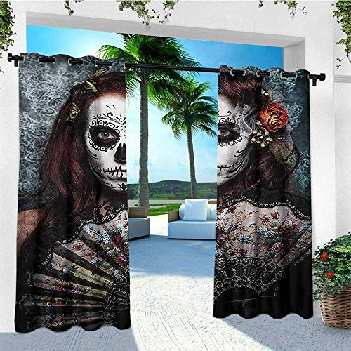 leinuoyi Day of The Dead, Outdoor Curtain Extra Long, Make up Artist Girl with Dead Skull Scary Mask Roses Artwork Print, Outdoor Privacy Porch Curtains W120 x L108 Inch Cadet Blue Maroon