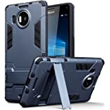 Lumia 950 XL Case - Terrapin Microsoft Lumia 950 XL Cover - Full Body Shock Resistant Armour Case - High-Tech Look - Dual Layer - Kickstand - Dark Blue