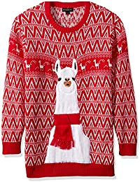Men's Big and Tall Festive Llama Ugly Christmas Sweater