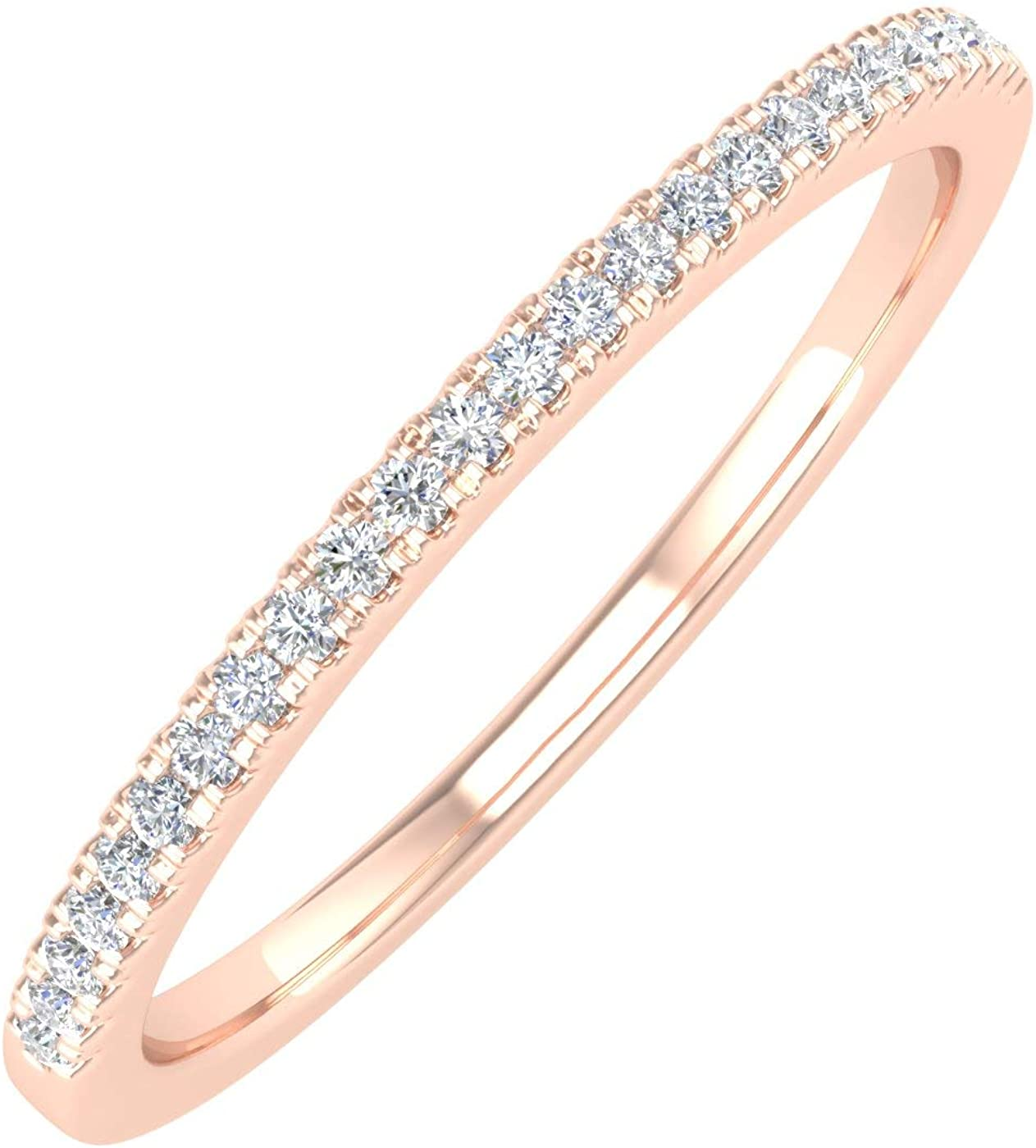 1/10 Carat (ctw) 10K Gold Natural Round Diamond Ladies Wedding Anniversary Stackable Ring