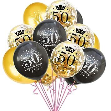 Haihuic 50 cumpleaños Globos de decoración, 15 Piezas de ...