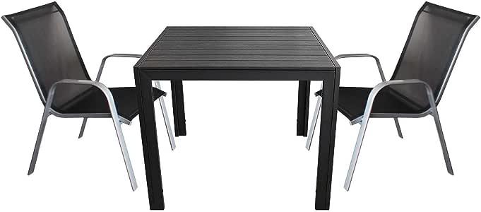 3 piezas. – polywood – Muebles de terraza jardín mesa 90 x 90 cm + ...