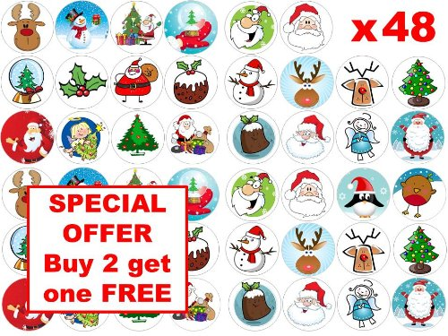 48 Mixed Christmas Wafer Paper Party Cupcake//Fairy Cake Toppers 3cm