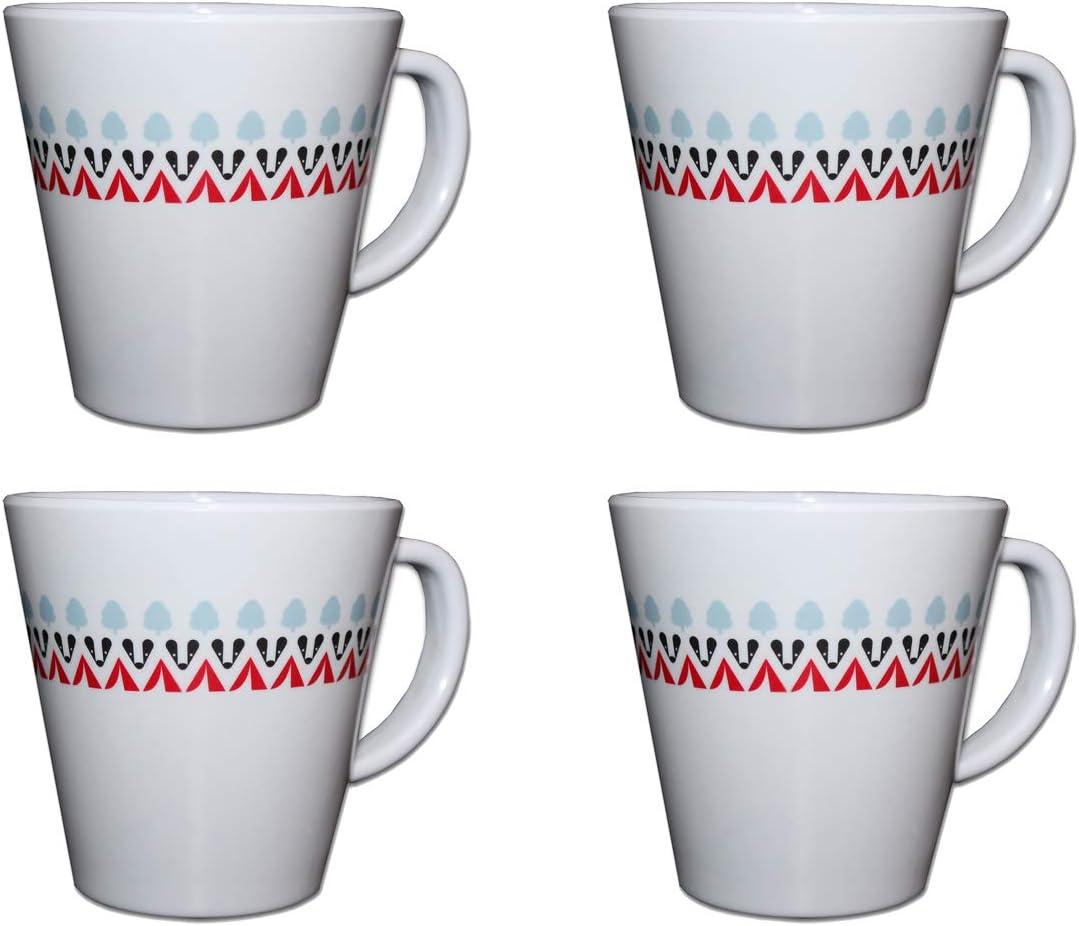 Pack of 4 OLPRO Witley Design Melamine Mug Set
