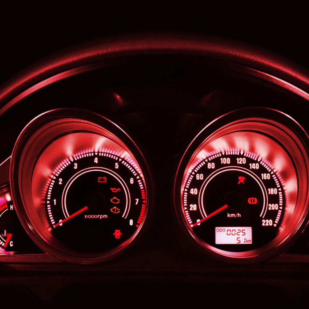 YITAMOTOR 20x T5 3-SMD Instrument Panel Cluster Dash Pure Red LED Bulb Light Lamp 74 70 37 17