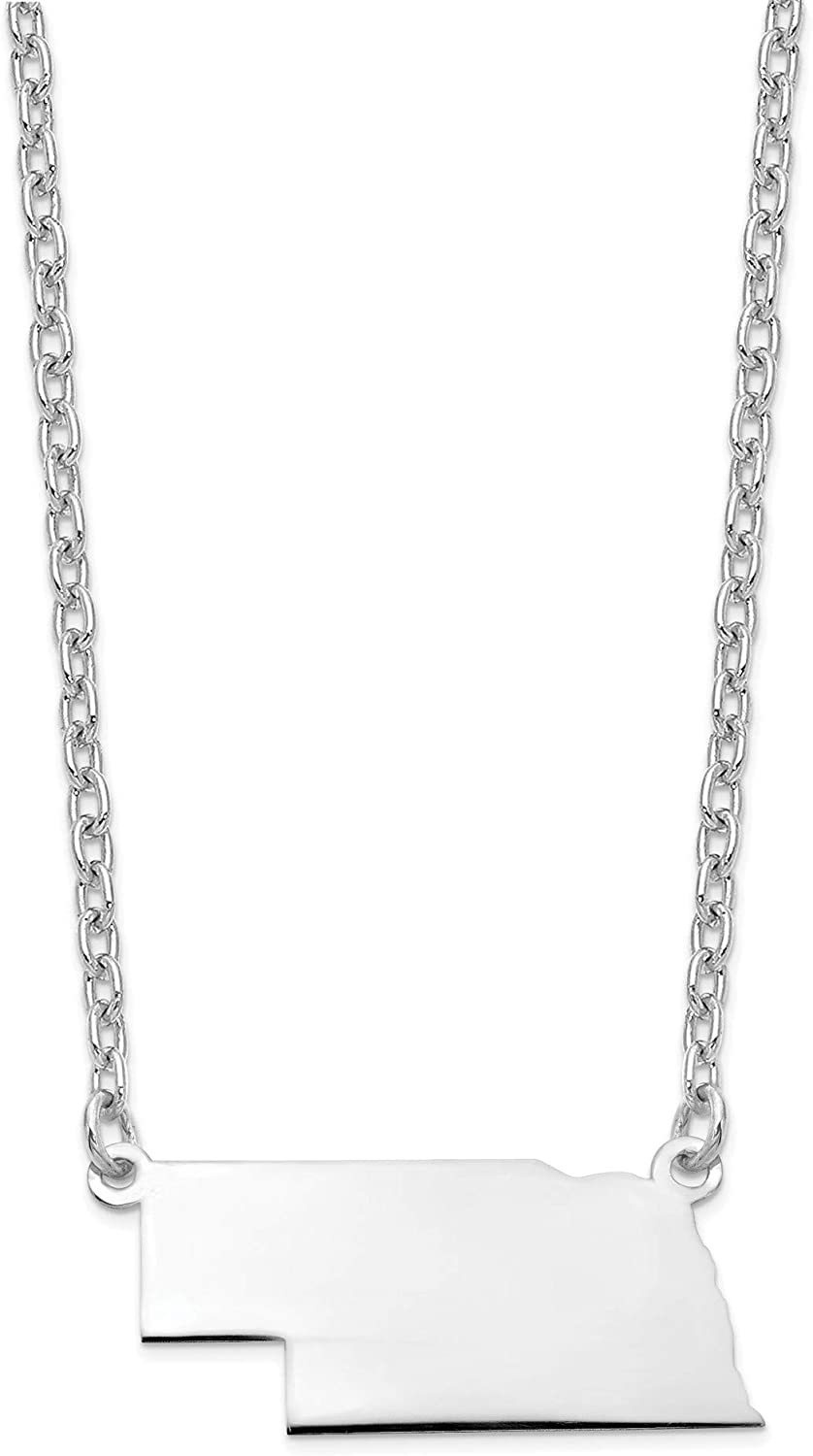 Bonyak Jewelry Sterling Silver Rhodium-Plated NE State Pendant with Chain