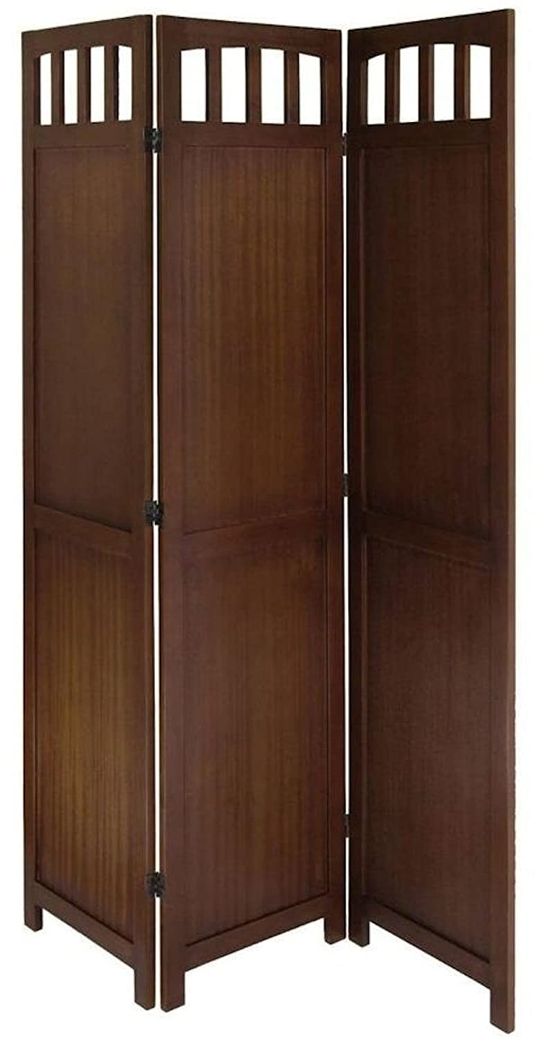 amazoncom legacy decor 3 or 4 panel solid wood room screen divider walnut 3 panels kitchen u0026 dining