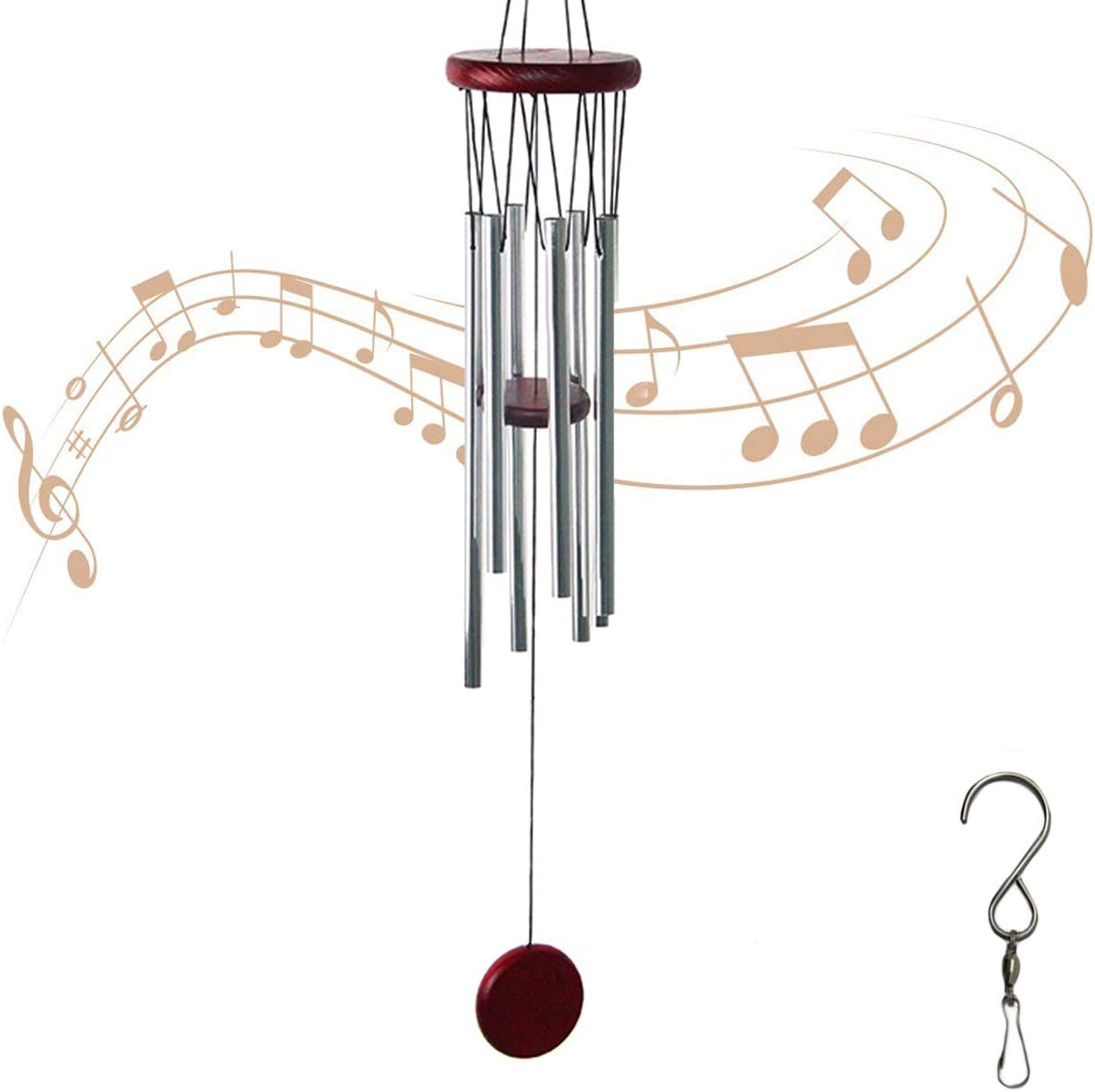Wind Chimes Outdoor,6 Aluminum Tubes with S Hook