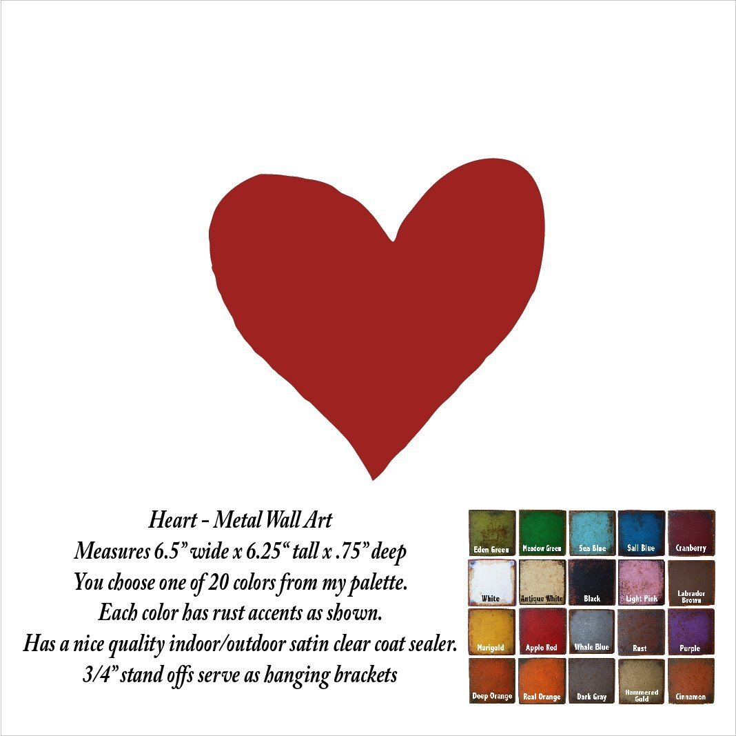 Amazon 65x625 Or 12x115 Inch Tall Heart Symbol Metal