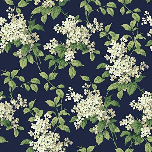 Designer Wallpaper Floral (Wallpaper Designer Floral Cottage White Beige Gray Green Hydrangeas on Navy)