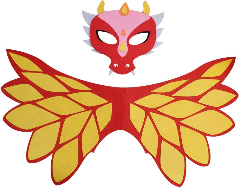 Red-Gold Felt Wings and Mask