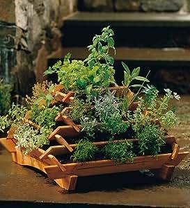 Space-Saving Cedar Pyramid Herb or Flower Planter