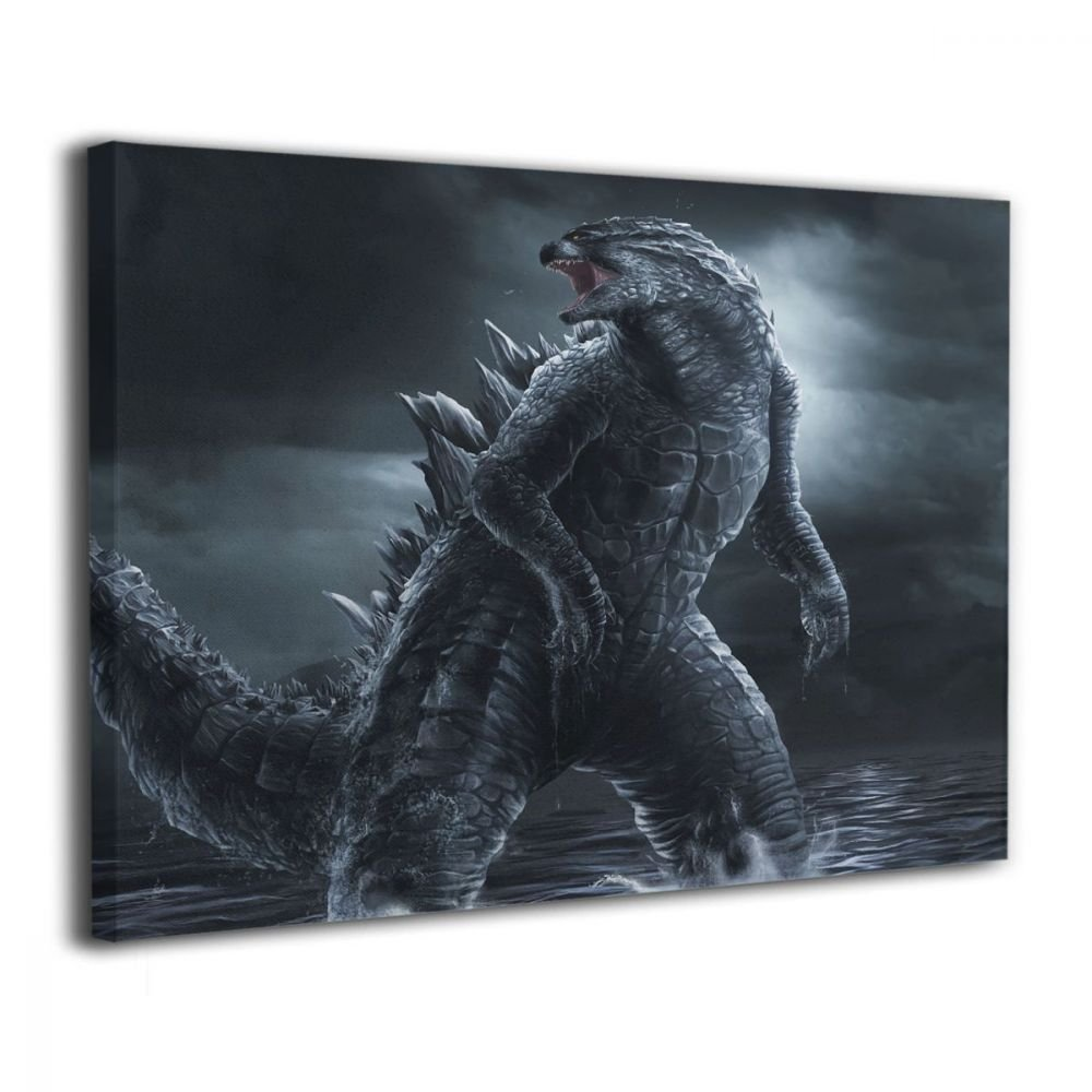 Little Monster Godzilla Night Sea Framed and Stretched Printing On Canvas Home Decor Comics Art for Boys and Girls Bedroom Bathroom