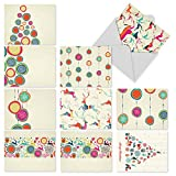 M5017sl Happy Holidays: 10 Assorted Christmas Note Cards Featuring Modern Takes On Traditional Seasonal Symbols, w/White Envelopes.