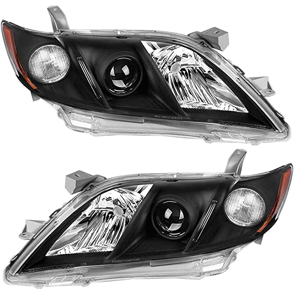 Torchbeam Replacement Headlight Assembly for 2007 2008 2009 Camry Chrome Housing Amber Reflector Clear Lens Driver /& Passenger Side