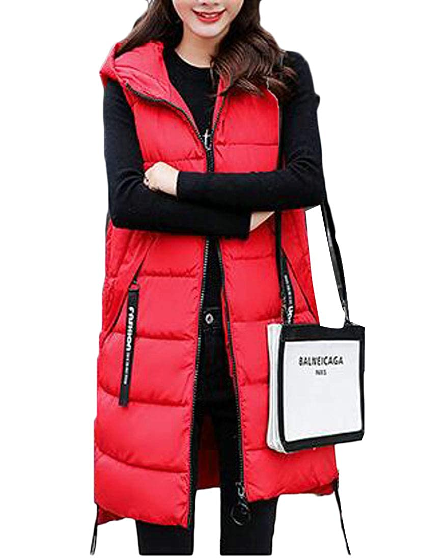 Pandapang Womens Sleeveless Hooded Outwear Puffer Winter Down Coat Mid-Long Vest