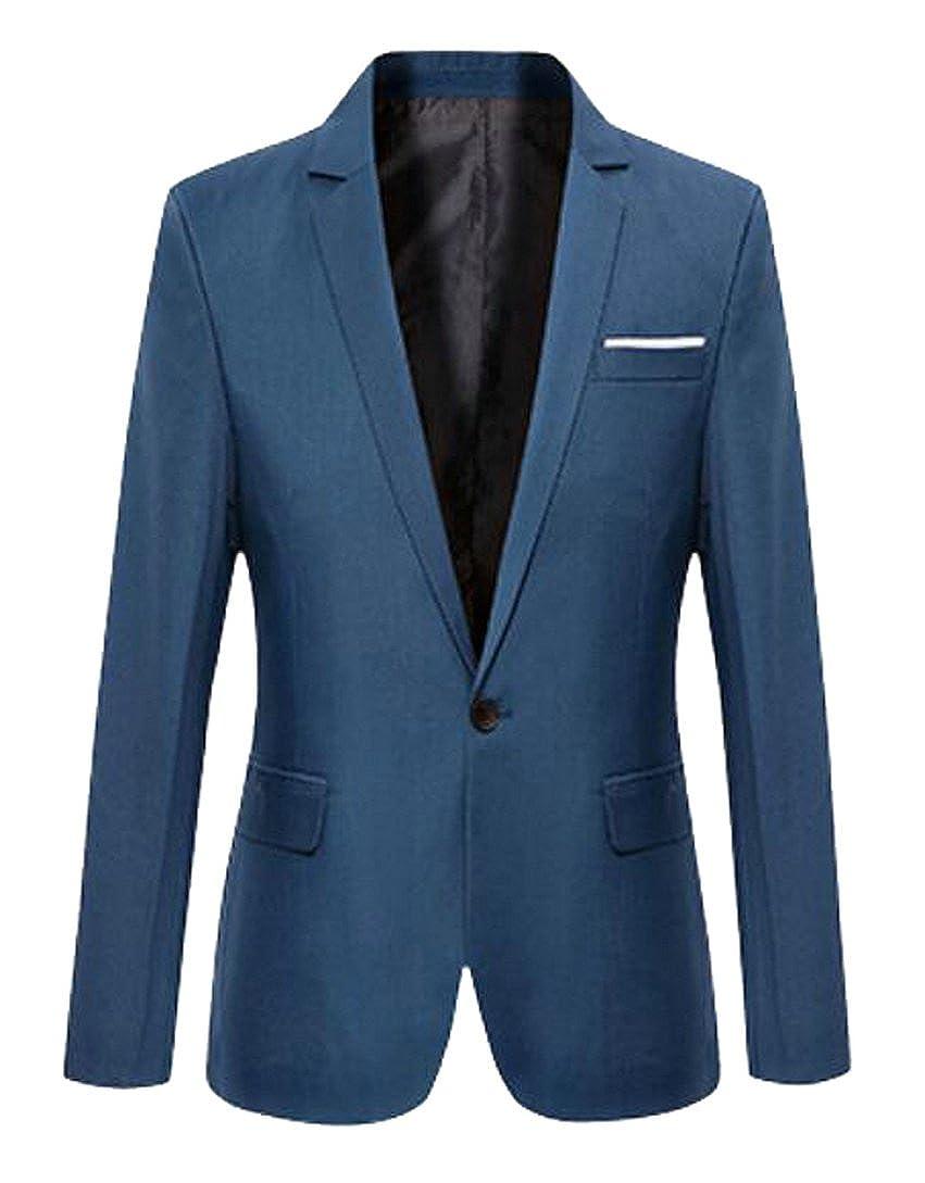 Fensajomon Mens Solid Color Slim Fit One Button Suit Coat Business Blazer  Jacket at Amazon Men s Clothing store  500f8b046035