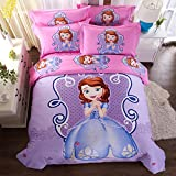 CASA 100% Cotton Kids Bedding Set Girls Sofia the First Duvet cover and Pillow cases and Fitted sheet,girls,4 Pieces,Queen