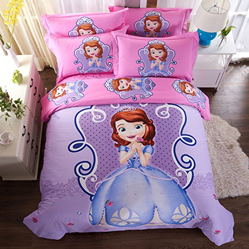 CASA 100% Cotton Kids Bedding Set Girls Sofia the First Duvet cover and Pillow cases and Flat sheet,girls,4 Pieces,King