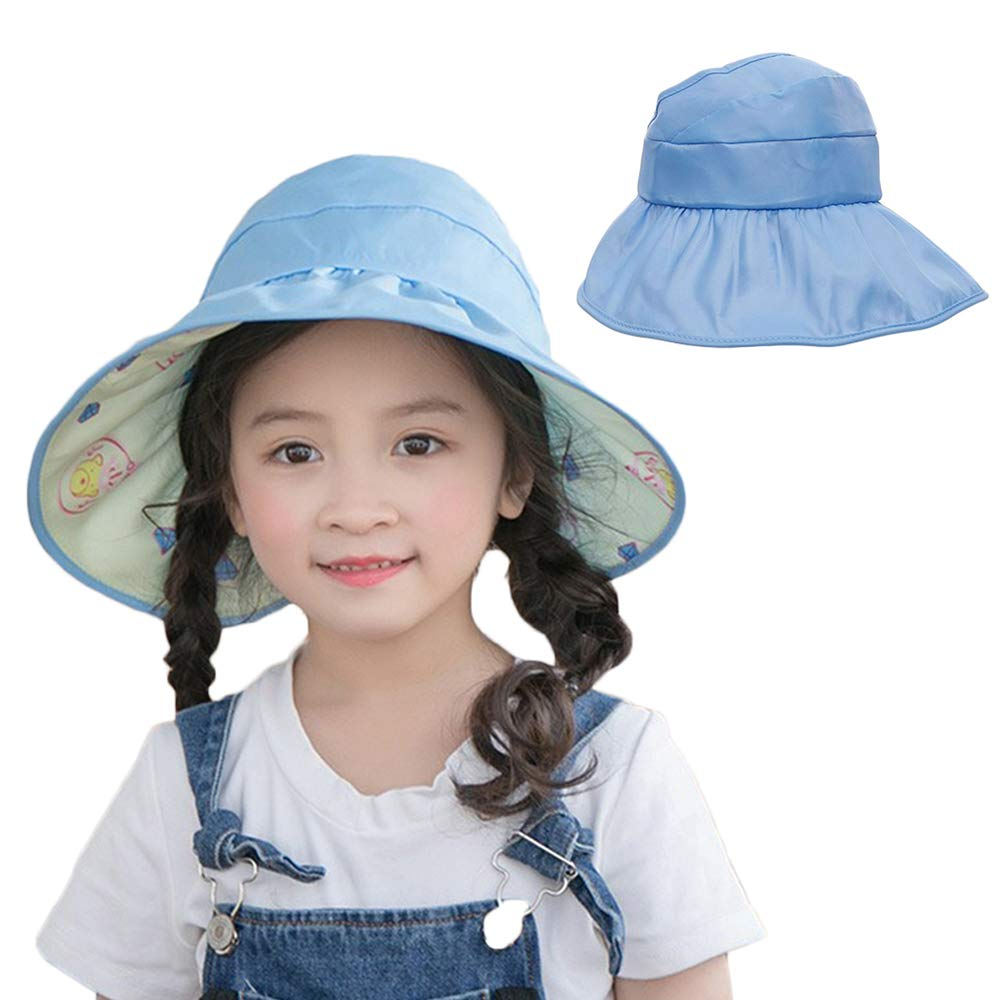 c3b531ff5 AlisaPrincessQ Kids UV Protection Hats Bucket Hat Double-Sided Wearable Sun  Hats Beach Hat for Girls Aged 3-14