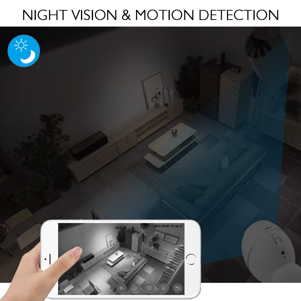 AKASO WIFI Security Camera, HD 720P Rechargeable Wireless IP Camera,Two-Way Audio,Night Vision,PIR Motion Detection, Indoor/Office/Home Surveillance/Baby Monitor, Powered by Batteries (Hawkeye 1) by AKASO (Image #5)