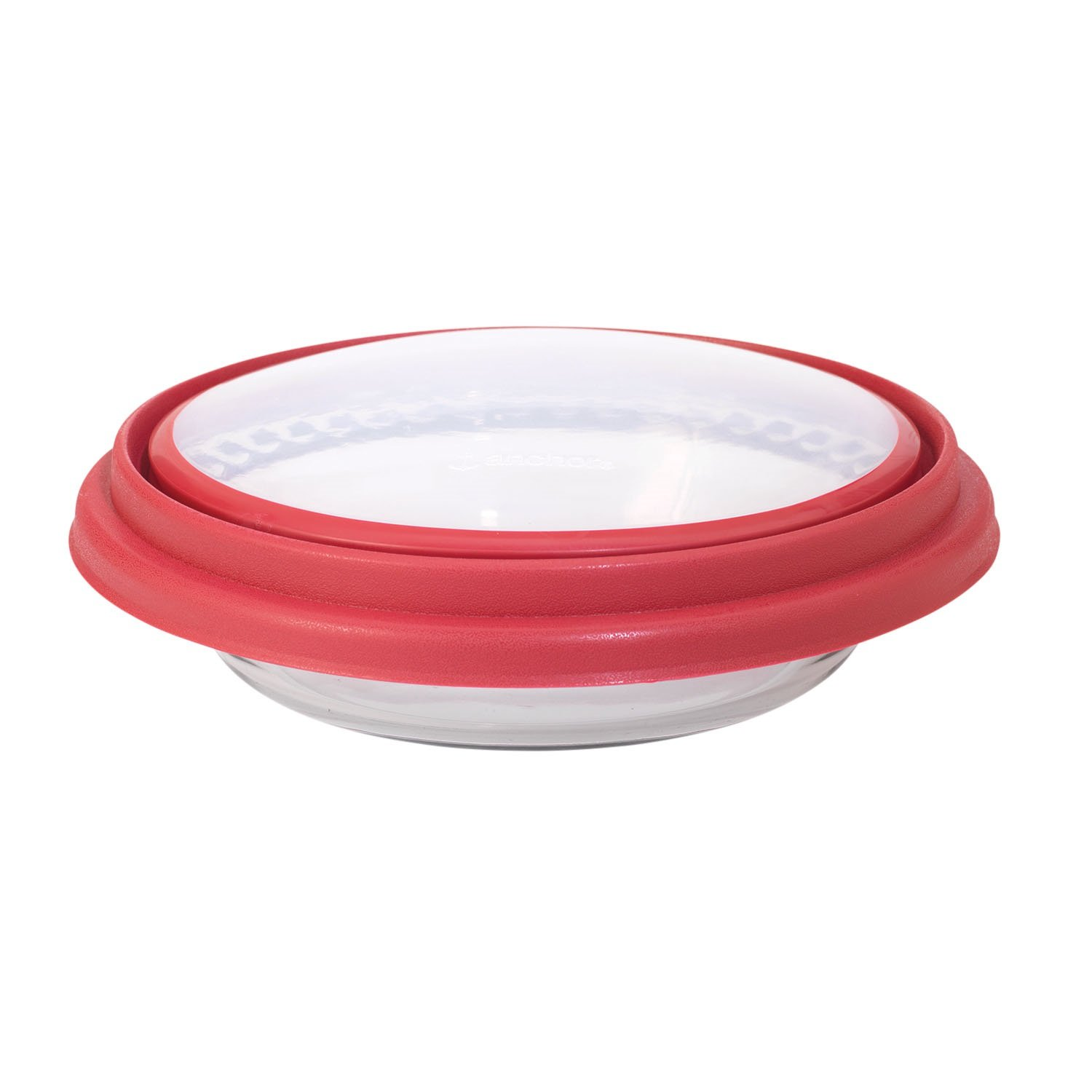 Anchor Hocking 9.5 in. Deep Pie w/Wide Fluted Edge and Red Expandable Cover 11461