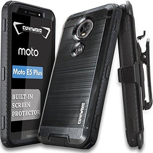 Moto E5 Plus / E5 Supra Case, COVRWARE [Iron Tank] Brush Metal Texture Design Case with Built-in [Screen Protector] Heavy Duty Full-Body Rugged Holster Armor Case [Belt Swivel Clip][Kickstand], Black