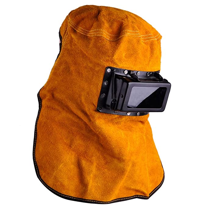 Leather Hood Welding Helmet Face Mask Solar Auto Darkening Filter Lens Welder - - Amazon.com