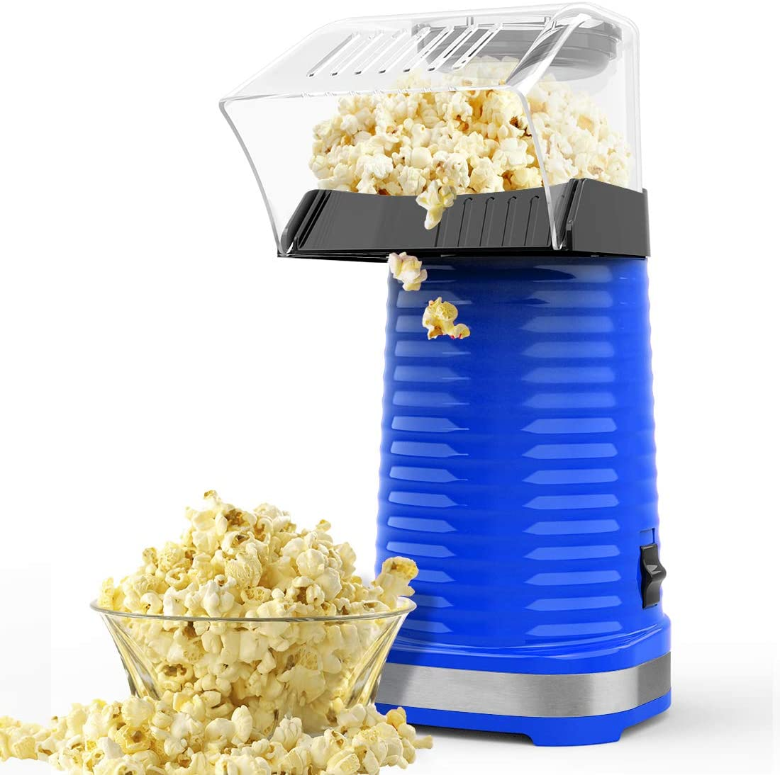 Electric Popcorn Maker Machine Healthy /& Delicious Snack For Family Gathering 1200W Fast Hot Air Popcorn Popper With Top Cover Safe ETL Certified Easy To Clean