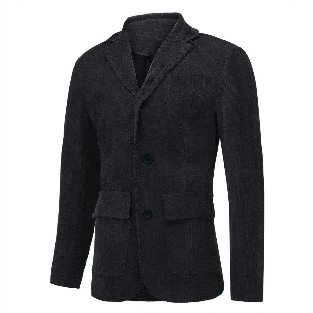 Costume Simple en Velours côtelé décontracté de Haute qualité pour Hommes Manteau Veste Noir