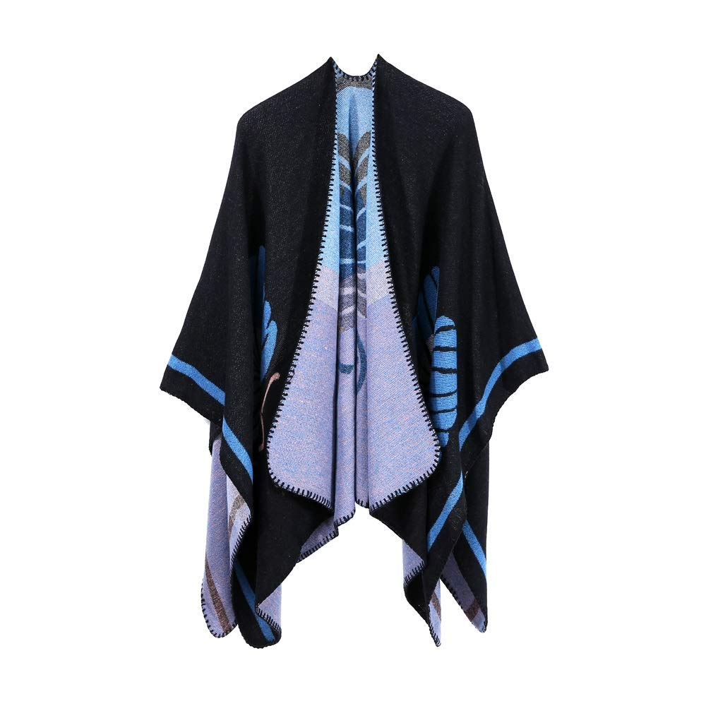 Excellent Women's Fall Winter Scarf Cloak Tassel Cape Mantle Scarf Strong Subdued Kerchief Wrap Shawl Scarves (Color : Purple, Size : 51.1 x 59.06 Inch')